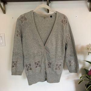 ANTHROPOLOGIE Crochteted Grey Midi Cardigan